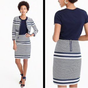 J. Crew Mini Pencil Skirt in Striped Navy Tweed 14